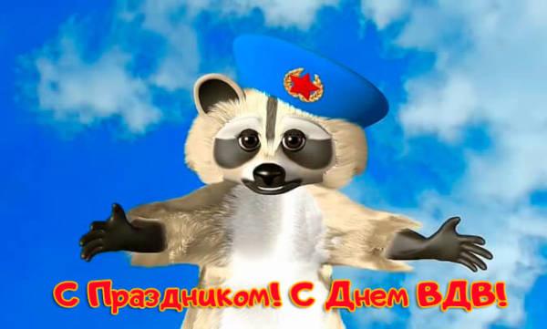 С Днем ВДВ прикольная картинка енот