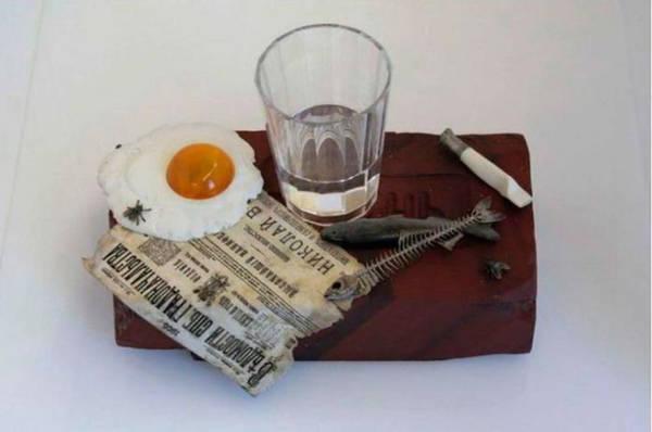 """Композиция Фаберже """"Пролетарский завтрак"""", 1905 г. с граненым стаканном"""